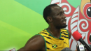 Usain Bolt watches Gatlin run 200
